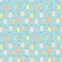 Seamless pattern with pineapple background. Vector illustrations for gift wrap design.