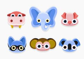 Cute Animal Faces Set vector Flat Illustration