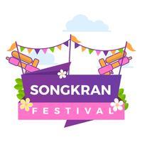 Flat Färgglada Songkran Festival Vector Poster Illustration