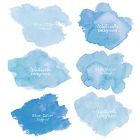 Blue abstract watercolor background. Watercolor element for card. Vector illustration.