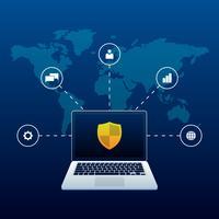 Concetto cyber di sicurezza di sicurezza con il fondo astratto della mappa di mondo