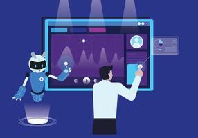 Professor edifício robô com ilustração vetorial de inteligência artificial