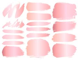 Set di pennellate, pennellate di oro rosa grunge. Illustrazione vettoriale