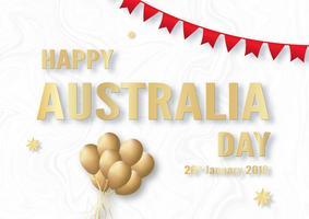 Bonne fête de l'Australie le 26 janvier. Modèle de conception pour l'affiche, carte d'invitation, bannière, publicité, flyer. Illustration vectorielle en papier découpé et style artisanal.