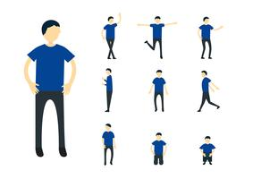 Set of character design of person with blue shirt isolated on white background. vector