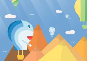 Scene background for balloon festival. Vector illustration in flat style with sunshine.