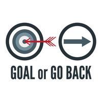 Slogan design in Goal e Go back concept per pubblicità, maglietta, copertina, banner, template, abbigliamento e brochure. Illustrazione vettoriale in design piatto con colori bianchi.