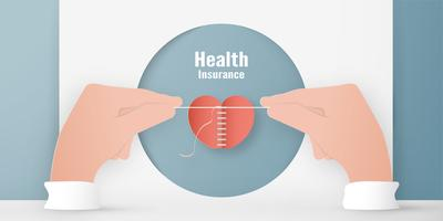 Vector illustration in concept of health insurance. Template design is on pastel blue background for cover, web banner, poster, slide presentation. Art Craft for kid in 3D paper cut style.