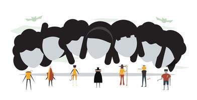 Scena minimale per il giorno di Halloween, il 31 ottobre, con mostri che includono dracula, vetro, uomo zucca, frankenstein, ombrello, gatto, strega. Illustrazione vettoriale isolato su sfondo bianco.
