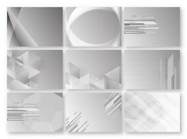 Abstrato cinzento com espaço de texto. Conjunto de modelo de polígono em tom preto e branco. Design de banner da Web. Ilustração vetorial