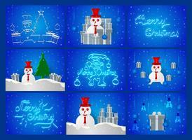 Escena del día de Chirstmas en fondo azul con el muñeco de nieve, el árbol, la nieve y la actual caja. Ilustracion vectorial