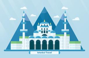 Turkey landmarks for travelling with Hagia Sophia in Istanbul and mountain. Vector illustration with copy space and flare of light on blue background.