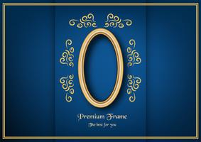 Golden classic frame on blue gradient background. vector