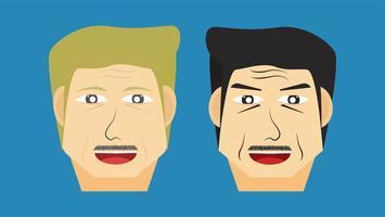 Vektor ansikte karaktär av vuxen man isolerad på blå bakgrund i platt design.