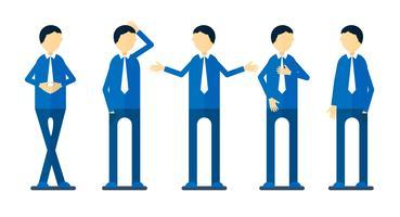 Set di character design di persona con la camicia blu isolato su sfondo bianco.