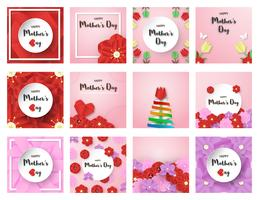 Bundle template design for happy mother's day. Vector illustration in paper cut and craft style. Decoration background with flowers for invitation, cover, banner, advertisement.