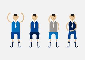 Character design of disable person that is business man with blue cloth. vector