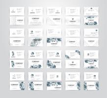 Conjunto de cartão de visita em fundo branco, com espaço de cópia. Ilustração vetorial