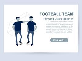 Design de modelo de site isolado no fundo branco, com espaço de cópia em tom azul. Ilustração vetorial para UX / interface do usuário com caráter de jogadores de futebol.