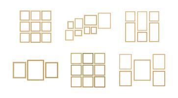 Satz des dekorativen Rahmenbildes mit Goldgrenze, Vektordesign mit Kopienraum im erstklassigen Konzept.
