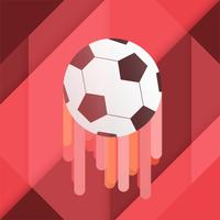 Abstract soccer banner rises up on red background.