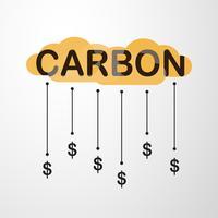 Diseño del vector en concepto de fijación de precios de carbono en fondo gris degradado.