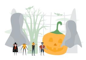 Scena minima per il giorno di Halloween, il 31 ottobre, con mostri che includono dracula, uomo delle zucche, frankenstein. Illustrazione vettoriale isolato su sfondo bianco.