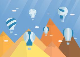 Fundo de cena para o festival de balão. Ilustração do vetor no estilo liso com luz do sol