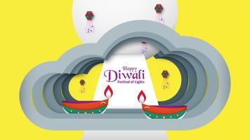 Diwali est un festival des lumières de l'hindou pour fond d'invitation, bannière Web, publicité. Conception d'illustration vectorielle en papier découpé et style.