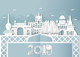 03. April 2019: Top Wahrzeichen und Gebäude von Indien Land für Reisen und Tour. Vektorillustrationsdesign im Papierschnitt und in der Handwerksart auf blauem Hintergrund.