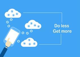 """Vector design de ilustração no conceito de """"fazer menos obter mais"""". No banco on-line."""