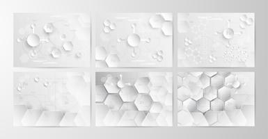 Set of abstract chemical background in grey and white tone in concept of paper cut and flat design. Vector illustration in digitalcraft.