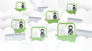 De vrouw drijft een groene auto in Saudi-Arabië op de wolk. Arabische volwassenen krijgen een rijbewijs. Vector illustratieontwerp in flat en papier gesneden stijl.
