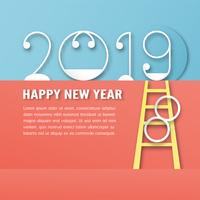 Happy New Year 2019 decoration on blue background. Vector illustration with calligraphy design of number in paper cut and digital craft. The concept shows that It has changing of the year.