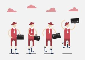 Character design of disable person that is business man with red cloth and cloud. vector