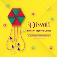 Carte d'invitation pour le festival hindou de Diwali. Conception d'illustration vectorielle en papier coupé style.