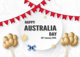 Glücklicher Australien-Tag am 26. Januar. Template-Design für Poster, Einladungskarte, Banner, Werbung, Flyer. Vektorillustration im Papierschnitt und in der Handwerksart.