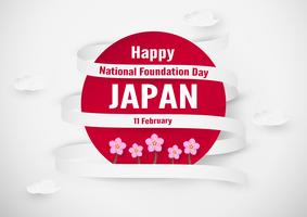 Happy National Foundation Day 2019 für Japaner. Template-Design im Flatlay-Stil. Vektor illlustration mit Papierschnitt und Handwerkskonzept.