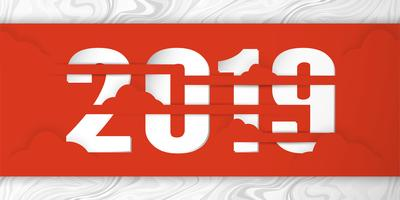 Gelukkig Nieuwjaar 2019 met shodow van wolk op rode achtergrond. Vectorillustratie met kalligrafieontwerp van aantal in document besnoeiing en digitale ambacht.