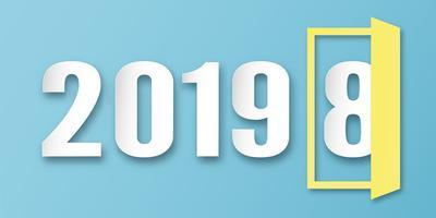 Gelukkige Nieuwjaar 2019 decoratie op blauwe achtergrond. Vectorillustratie met kalligrafieontwerp van aantal in document besnoeiing en digitale ambacht. Het concept laat zien dat het het jaarwisseling heeft.