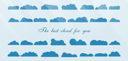 Reeks van de beste die wolk op blauwe achtergrond met tekstruimte en licht wordt geïsoleerd.