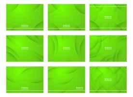 Set med grön abstrakt bakgrund med kopia utrymme för text. Modern malldesign för omslag, webb banner, skärm och tidskrift. Vektor illustration.