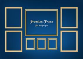 Reeks van decoratief kaderbeeld met gouden grens, Vectorontwerp op blauwe achtergrond met exemplaarruimte in premieconcept.
