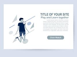 Website template design isolated on white background with copy space in blue tone. Vector illustration for UX/UI with character of soccer players.