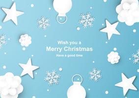 La decorazione di Natale su fondo blu nel taglio e nel mestiere di carta con il fiocco di neve.