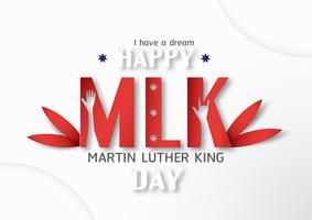 Thailand, Udonthani - 16 januari 2019: Happy Martin Luther King Jr. Day met papier gesneden en ambachtelijke stijl. Vectorillustratie voor achtergrond, banner, poster, reclame, uitnodigingskaart en sjabloon.