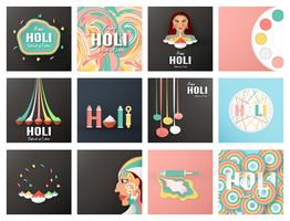 Happy Holi, Festival of Colors. Bundel template element design for template, banner, poster, greeting card. Vector illustration in paper cut, craft, origami type with flat lay style.