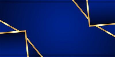 Fondo azul abstracto en estilo indio superior. Diseño de plantillas para portada, presentación de negocios, banner web, invitación de boda y empaques de lujo. Ilustración de vector con borde dorado.