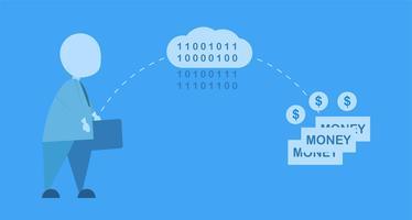 """Vector la progettazione dell'illustrazione nel concetto di servizi di codifica della nuvola """"per scambio di soldi Uomo di affari isolato su fondo blu."""