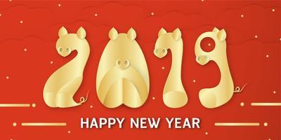 Gott nytt år 2019 med lysande bakgrund för zodiac av gris. Vektor illustration med gyllene teckensnitt i pappersklipp och digitala hantverk.